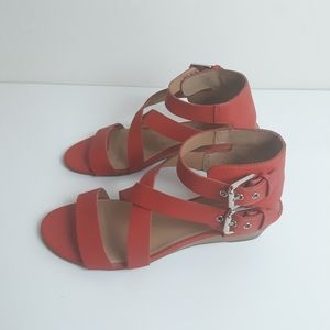 Franco Sarto strappy sandals double buckle wedge